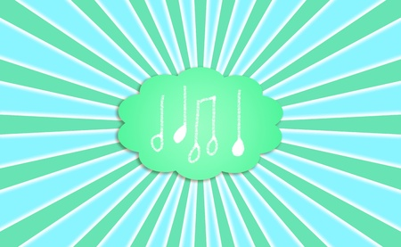 melodies: Notes, music, melodies, cloud, rays, concept