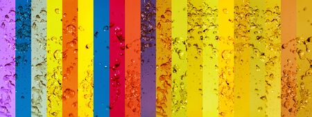 instrospection: Rainbow, banners, colorful, water drops, splash