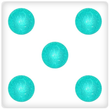 Five, white dice, aqua, light blue xmas balls Stock Photo - 13054878