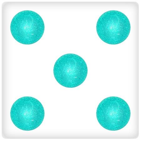 competences: Five, white dice, aqua, light blue xmas balls