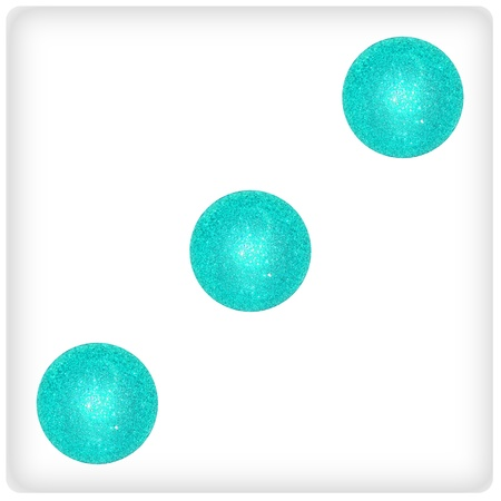 competences: Three light blue xmas balls as dice surface