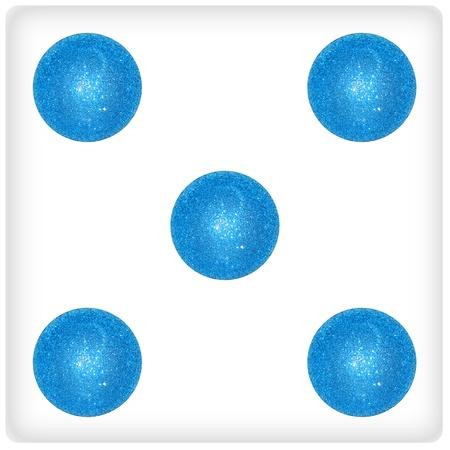 competences: Five xmas bubbles on a dice