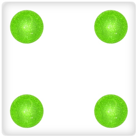 competences: Four, game, play, xmas balls, dice, dices Stock Photo