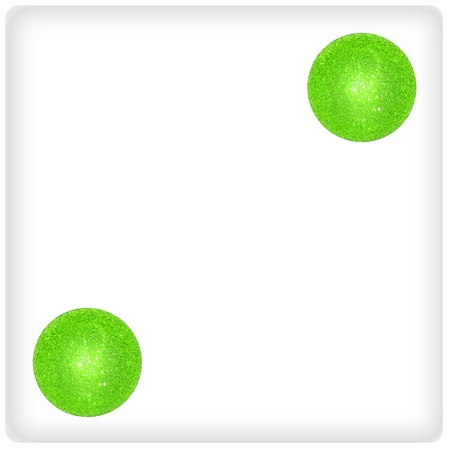 Duality, two, couple, pair, green xmas balls on a dice photo