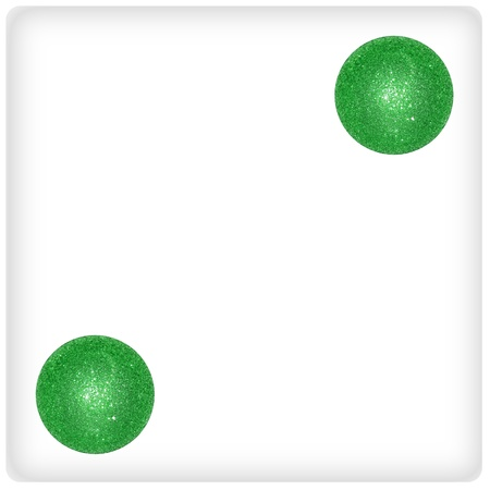 Two on a dice of green xmas balls photo