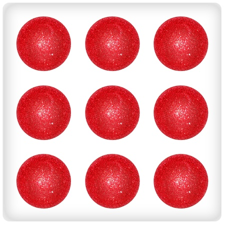 Nine red xmas balls on a creative festive dice surface Stock Photo - 13066409