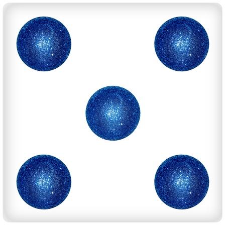 Five, xmas balls, blue, games, dices Stock Photo - 13113609
