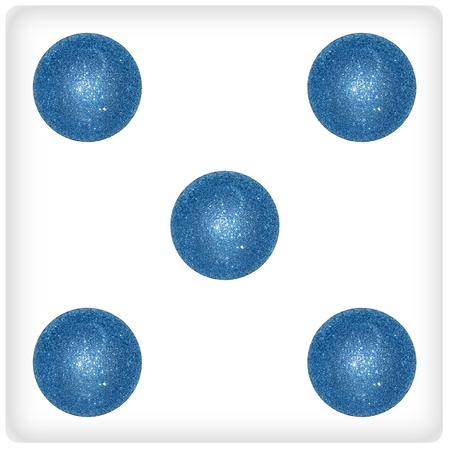 cian: Five, results, dices, games, blue, cian, fun Stock Photo