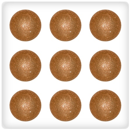 Nine golden brown xmas balls on an original dice face game Stock Photo - 13113484