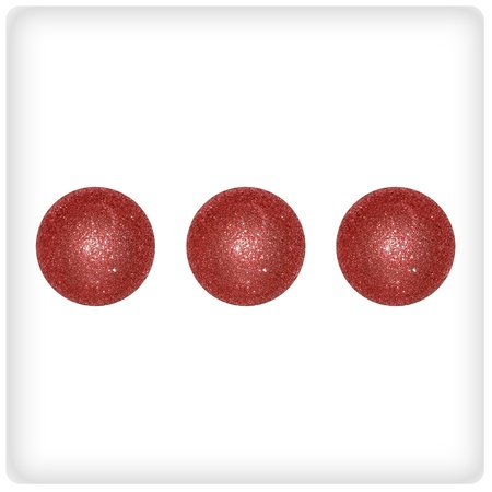 cupper: Three xmas balls of cupper brilliantine on a creative dice