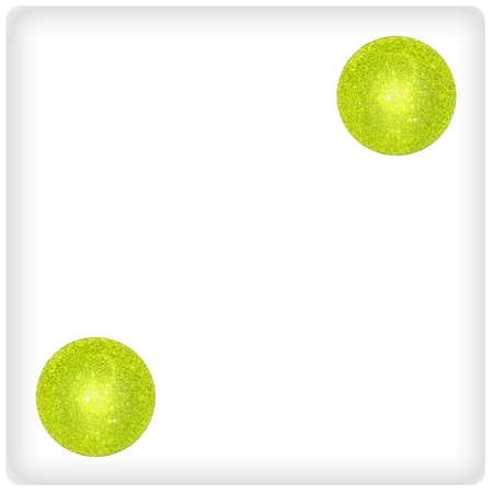 Two Christmas brilliant light green balls on a dice game Stock Photo - 13113852