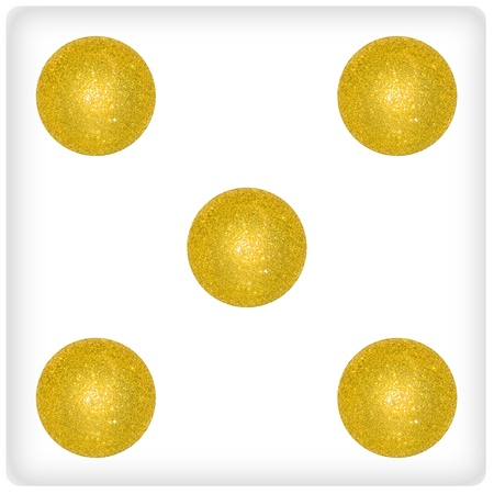 Five, gold, golden, balls, ball, xmas, festive, dice Stock Photo - 13114320