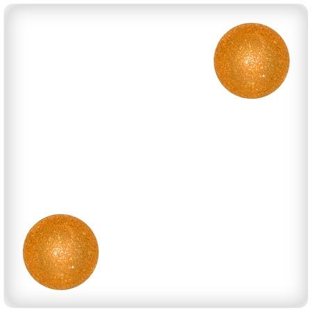 Two, gold, golden, orange, white, dice, dices, festive, xmas, balls photo