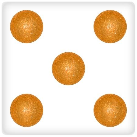 Five, xmas, balls, play, joy, gold, yellow Stock Photo - 13114229