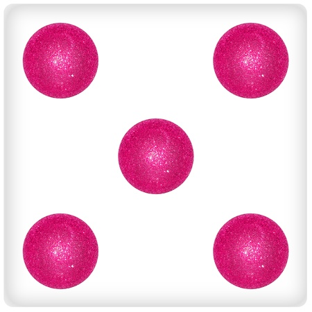 Five, pink, xmas balls, bubbles, dice, game, dices, games Stock Photo - 13114847