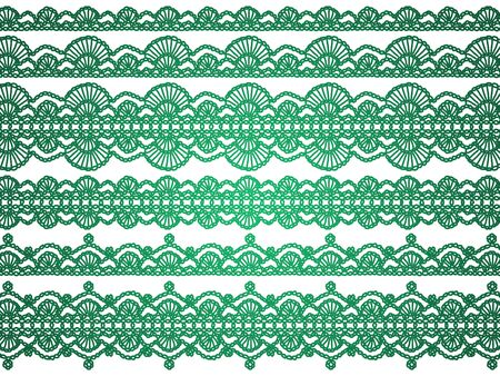 Christmas vintage background with crochet laces in green over white photo