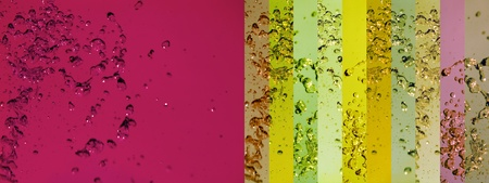 Red and green yellow banners backgrounds with water photo