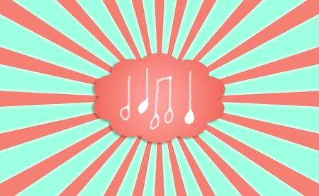 simetric: Notes, music, symbols, backgrounds, radial, rays, cloud, green, orange
