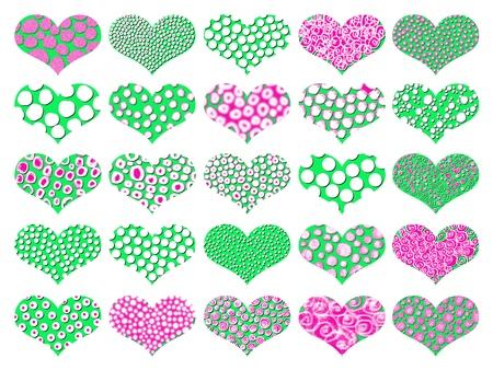 magentas: Green and pink hearts isolated on white background