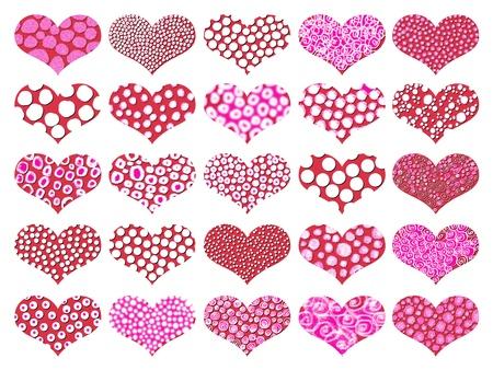 universal love: Corazones con textura de color rosa y rojo aislado en blanco