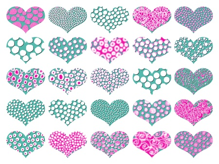 magentas: Greenish blue and pink textures on hearts pattern isolated over white Stock Photo