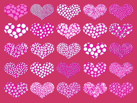 magentas: Warm background pattern with romantic hearts