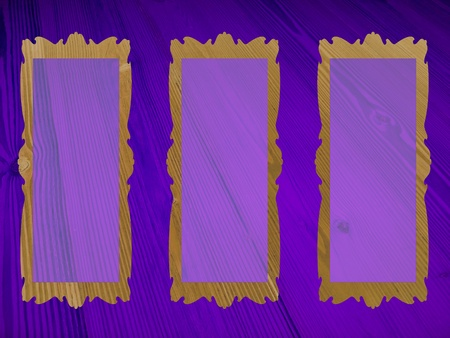 Violet purple, rectangular, three, empty, frames, pictures, backgrounds