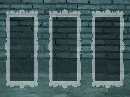 Bricks, greenish blue, frames, empty, pictures photo