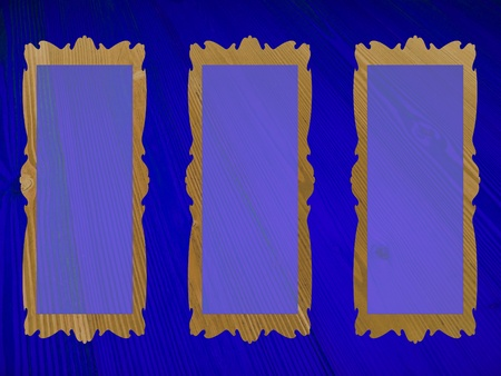 Indigo blue background with three frames for pictures Stock Photo - 13205159
