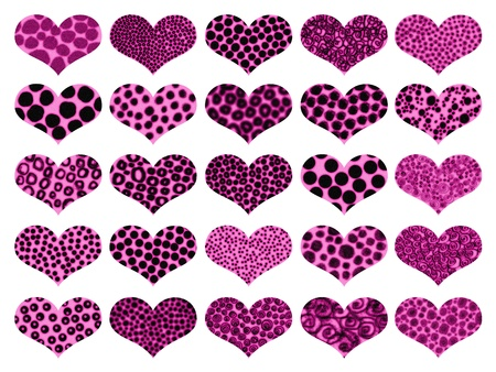 magentas: Pink and black animalprint textures in romantic hearts pattern background