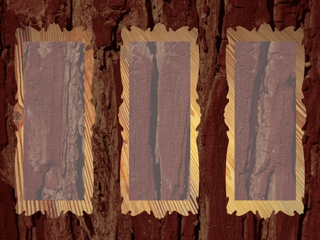 Brown rustic wood background with three empty transparent frames photo