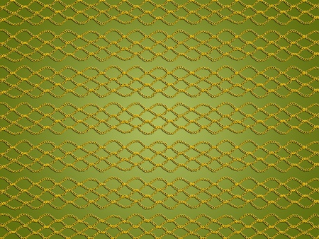 purls: Gold web crochet web over olive green background