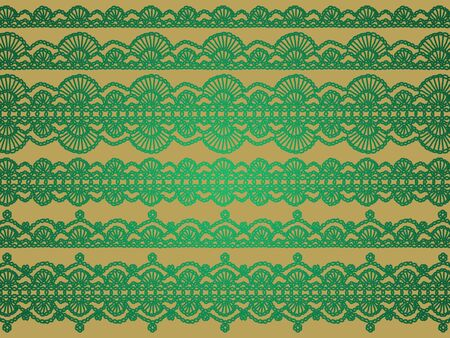 Green delicacy in crochet patterns over beige backdrop