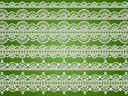 Elegant delicated white crochet laces patterns over green background photo