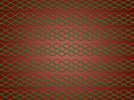 sofisticated: Green web crochet pattern over dark red background for xmas