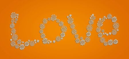 White pure love in crochet over orange background Stock Photo - 13291943