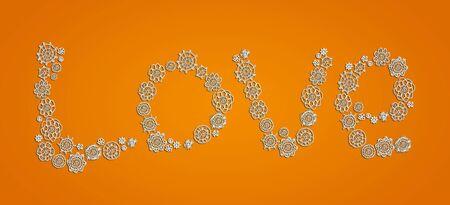 White pure love in crochet over orange background Stock Photo - 13291943