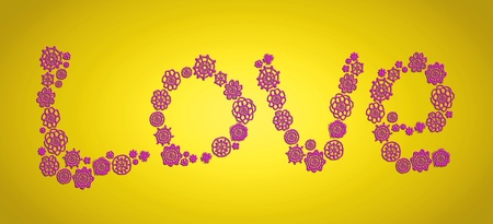sofisticated: Love, funky, colorful, word, concept, yellow, pink, flowers Stock Photo