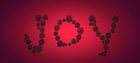 Black crochet flowers silhouettes forming word joy over passionate red Stock Photo - 13291936
