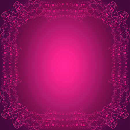empty space for text: Romantic purple pink background with frame for valentines