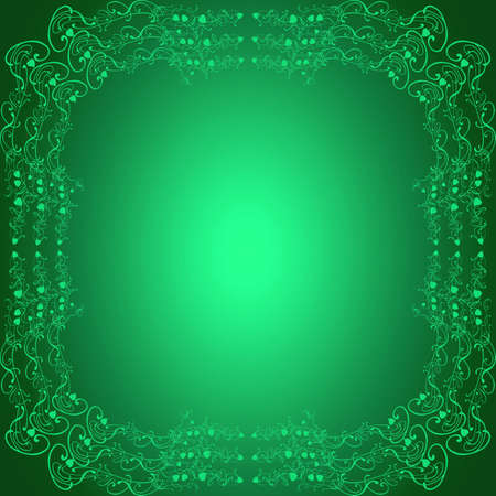 Green abstract square background with luminous gradient photo