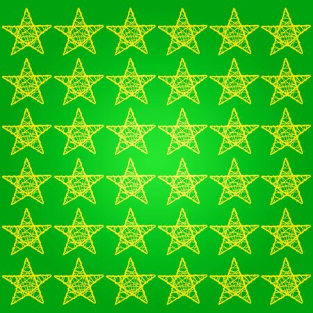 Yellow stars pattern over green background in a square backdrop photo