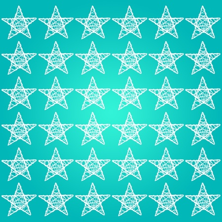 greenish blue: Greenish blue or turquoise background with white stars pattern Stock Photo