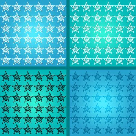 Starry mosaic in blues with square backgrounds with stars over blue photo