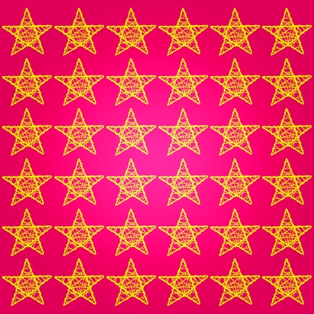 Intense warm pinkish red or redish pink background with gold stars photo