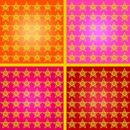 warmth: Warmth starry mosaic os four backgrounds with stars in red, yellos, pink and orange tones Stock Photo