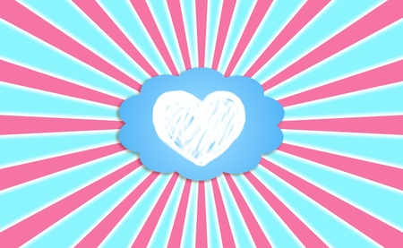cian: Dreaming with love, heart in a cloud with radial pink rays in the blue sky