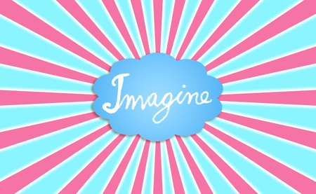 Word imagine in a big blue cloud with radial pink rays Stock Photo - 13385647