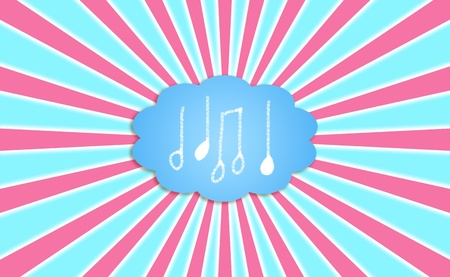 composing: Composing music in the mind, notes into a cloud with radial rays Stock Photo