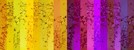 Yellow and purple banners or stripes in a long background with water splashing drops photo